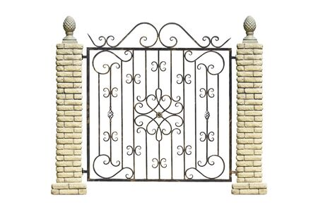 Fence with stone columns in old  style. Isolated over white background. Standard-Bild