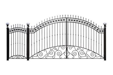 Forged gates  and doors with decor.  Isolated over  white background.