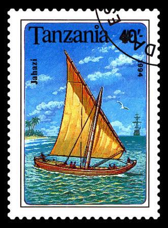 STAVROPOL, RUSSIA - May 18. 2020: A stamp printed in Tanzania shows  a ship  Jahazi, circa 1994 Editorial