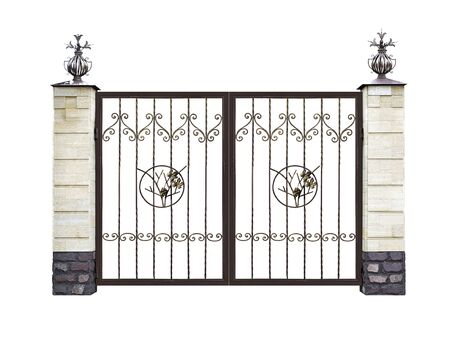 Forged decorative gate with ornament.  Isolated over white background. Stock Photo