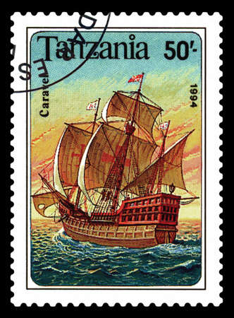 STAVROPOL, RUSSIA - May 20. 2020: A stamp printed in Tanzania shows  a ship Caravel, circa 1994 Editorial