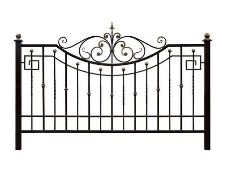 Elegant decorative, forged  banisters, fence  in old  style. Isolated over white background.
