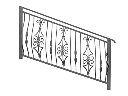 Forged railing with a convex ornament. In the old style. Isolated over white background.
