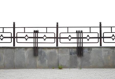 Welded decorative fence. Isolated over white background. Stock Photo