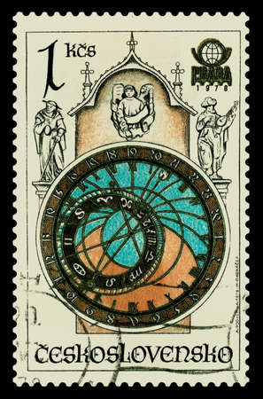 A Stamp printed in Czechoslovakia shows the old Clock tower, Prague, circa 1978 Stock Photo