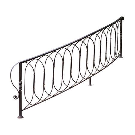 Modern openwork iron railings. Isolated on white background.