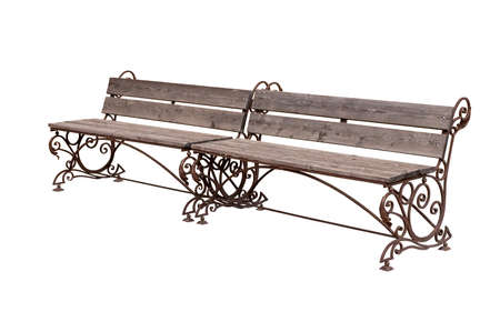 Benches for relaxing on a city street. Isolated over white background. Stock Photo