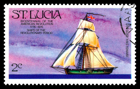 STAVROPOL, RUSSIA - July 14. 2020: A stamp printed in ST. LUCIA showing image of the sloop