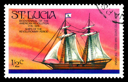 STAVROPOL, RUSSIA - July 15.2020: A stamp printed in ST. LUCIA showing image of the War Vessel
