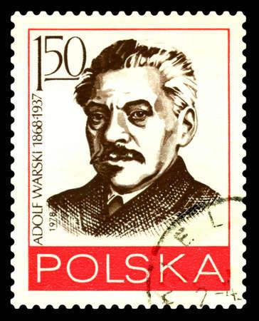 STAVROPOL, RUSSIA - July 12. 2020: A Stamp printed in Poland, shows portrait Adolf Jerzy Warski (1868-1937) - great Polish revolutionary, circa 1978 Editorial
