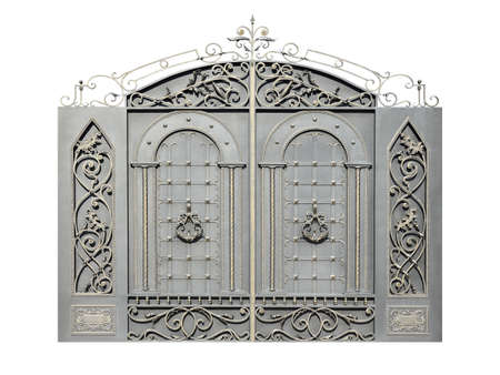 Gate with wrought iron decor. Isolated on white background. Stock Photo