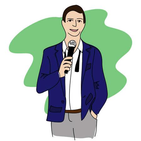 narrator: Vector illustration of a man giving a speech Illustration