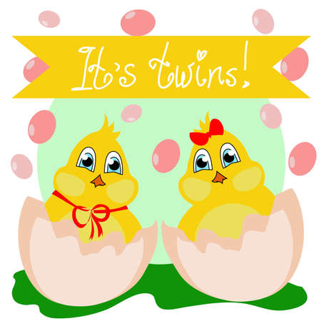 felicitation: vector illustration with the image of a newborn chick in the egg - its a girl