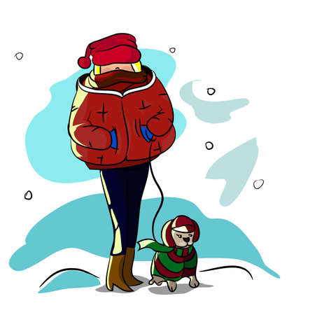 dog walking: Girl walking in winter with your pet dog