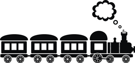 puffing: cute black train on white background