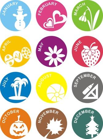 set of months calendar icons