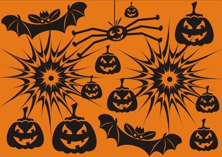 Set of orange hallowen symbols Vector