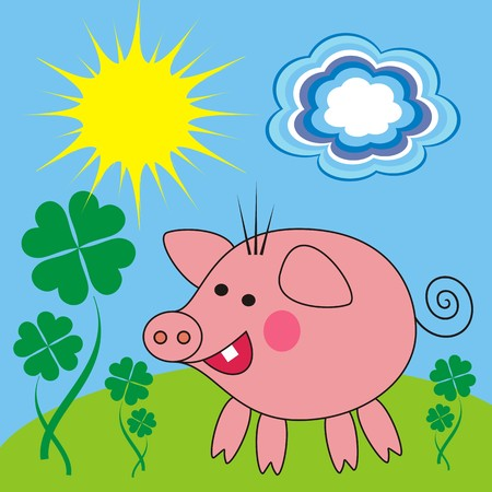 porker: Cute pig on the meadow