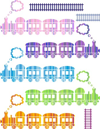 set of cute colorful trains on white background