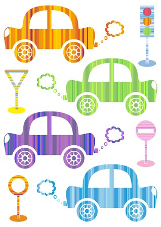 puffing: set of cute colorful cars on white background
