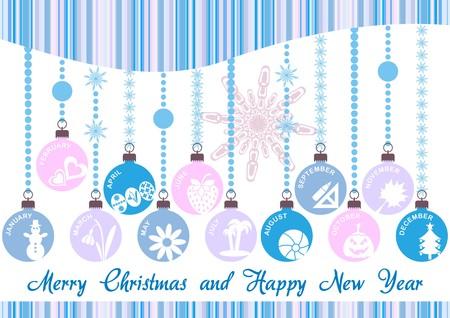 blue christmas invitation with christmas decoration Vector