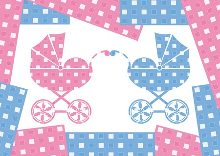 prams: pink and blue prams with colour borders