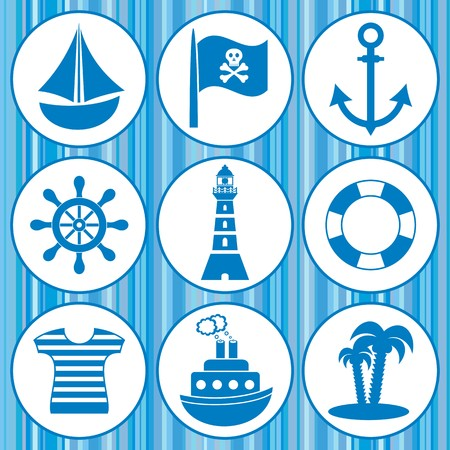 set of pirates and sailors icons on blue background Illustration