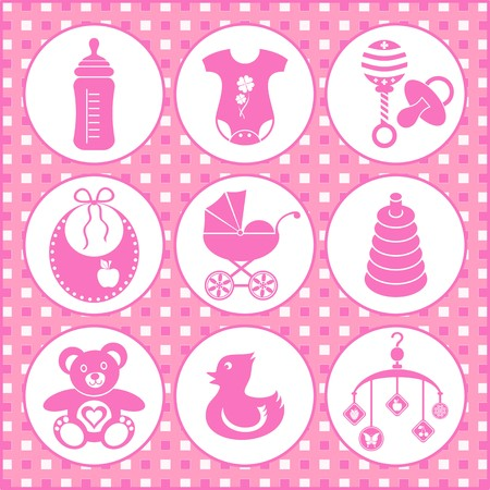 baby carriage: set of baby girl icons
