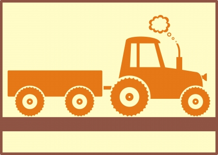 brown tractor with trailer on yellow background isolated Vector