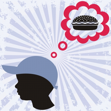 a little boy is dreaming about hamburger Vector