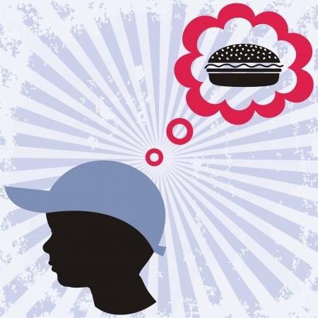 obesidad infantil: un ni�o peque�o sue�a con hamburguesa