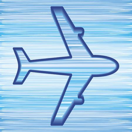 flight steward: simple airplane symbol on blue sky background  Illustration