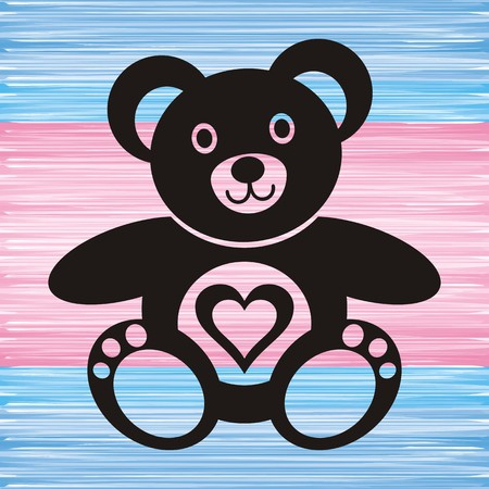 teddy bear love: black teddy bear with heart on blue and pink background