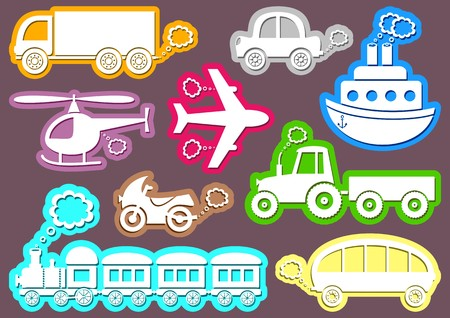 puffing: set of coloured transport icons on brown background