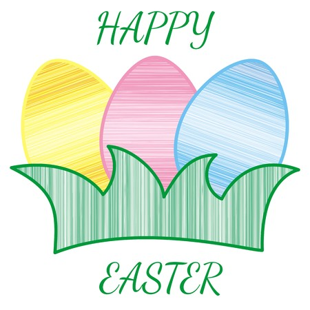 happy easter with coloured eggs on grass Vector