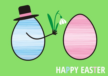 happy easter with mr and mrs egg Stock Vector - 22541848