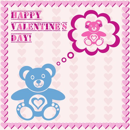 valentines gift card with blue and pink teddy bears Vector