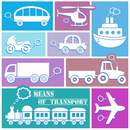 puffing: white means of transport icons on color background