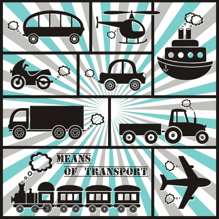 means of transport icons with stripes Ilustrace