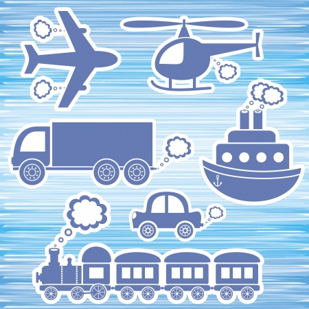 puffing: set of blue transport icons on blue background