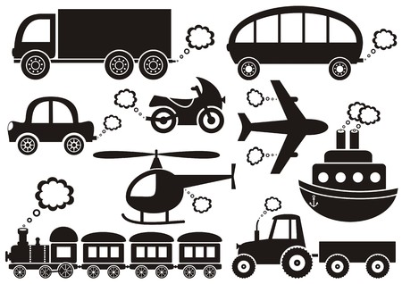 puffing: set of black transport icons on white background