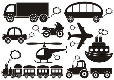 set of black transport icons on white background
