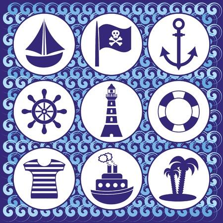 rudder ship: set of pirates and sailors icons on blue wawes background Illustration