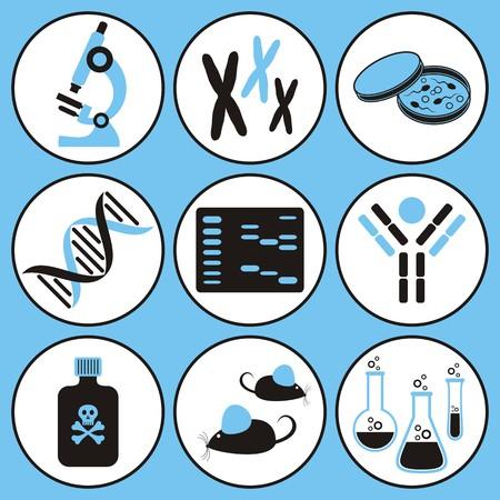 biologia molecular: conjunto de iconos de la ciencia de biolog�a molecular negro y azul