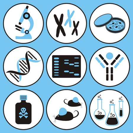 ensemble d'icônes de la science biologie moléculaire noir et bleu Vecteurs