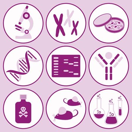 biologia molecular: conjunto de iconos de la ciencia de biolog�a molecular violeta