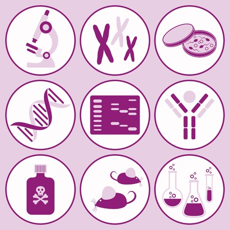 set of violet molecular biology science icons Vector