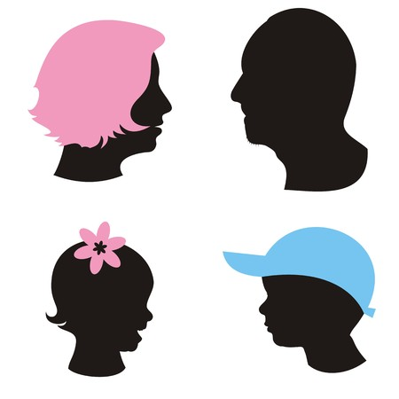 sillhouettes of family members head on white background Stock Vector - 22542098