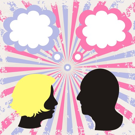 silhouettes of man and woman heads on retro background Vector