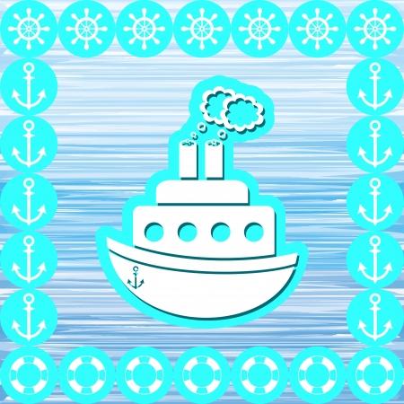 steamship: stoomschip met mariene symbolen op een blauwe achtergrond Stock Illustratie